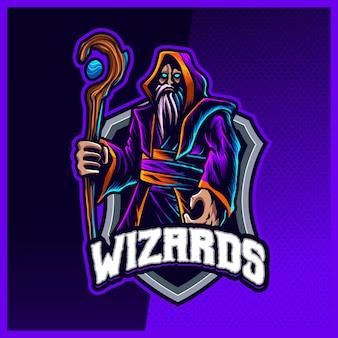 ダークウィザードマジシャンマスコットeスポーツロゴデザインイラストベクトルテンプレート、魔女、チームゲームストリーマーyoutuberバナーけいれん不和、フルカラー漫画スタイルのマジシャンワンドロゴ