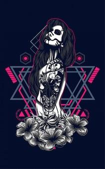 Dark women with tattoo