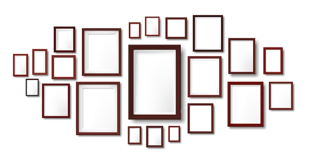 Dark wooden frames composition. photo frame hanging on wall, pictures grid and wood borders illustration template.