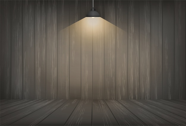 Dark wooden room space background and light bulb.
