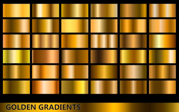 Darker golden gradients collection, with several different kinds of golden colors