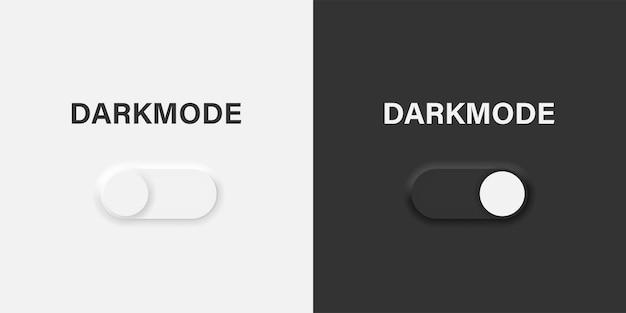 ニューモーフィックスタイルのダークモードスライダーのオンとオフのベクターボタン。明るい日と暗い夜のモードスイッチ。ベクターイラストeps10