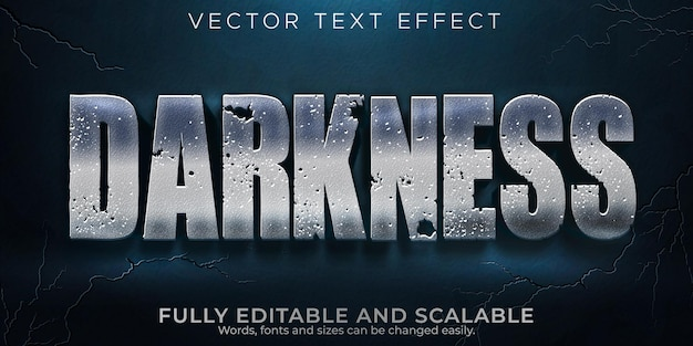 Darkness metallic text effect, editable shiny and dark text style Premium Vector