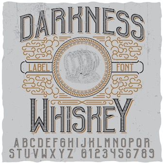 Darkness whiskey poster with image of  wooden barrel
