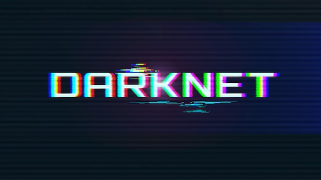 Darknet lettering with glitch effect