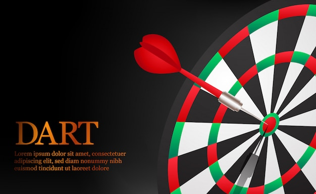 Dart accurate and successful targeting point on dartboard .   business market target and goal