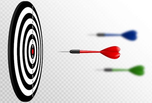 Dart arrows flying to target dartboard.