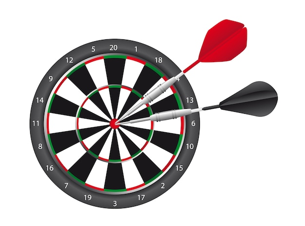Dart and dart board isolated over white background vector