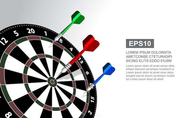 Dartboard vector illustration isolated for darts game.