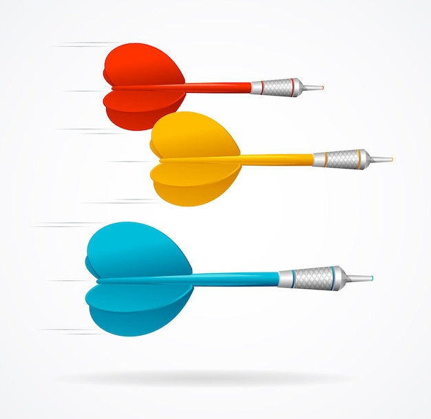 Darts fly. the symbol of success and goal achievement.