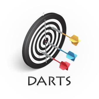 Дартс игра реалистичная иллюстрация