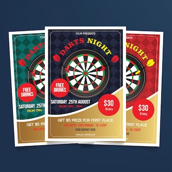 Darts night flyer template vector