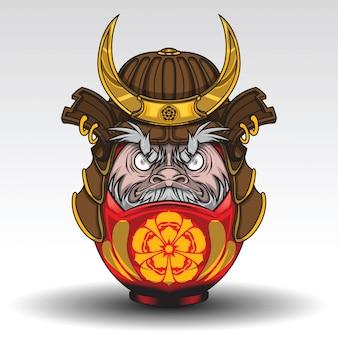 Daruma dall have on samurai warrior armor