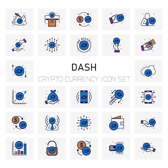 Dash crypto currency icons set