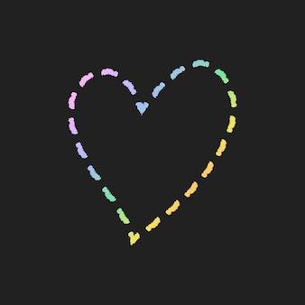 Vettore dell'elemento del cuore della linea tratteggiata in stile doodle