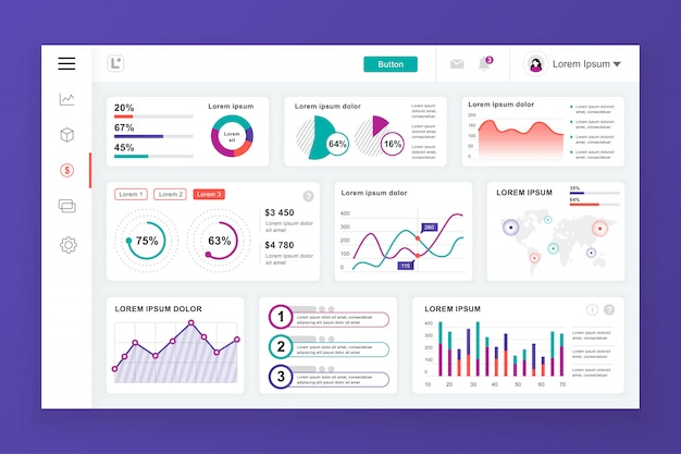 Dashboard admin panel template with infographic elements