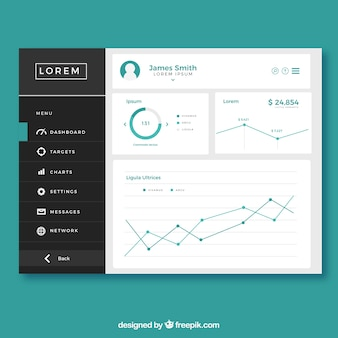 Dashboard admin panel with flat design