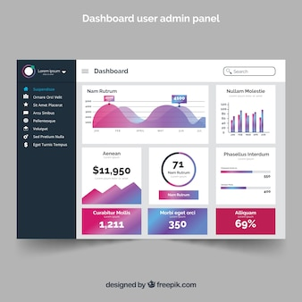 Dashboard admin panel with gradient style