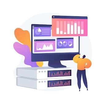 ダッシュボード分析。コンピューターのパフォーマンス評価。画面上のチャート、統計分析、インフォグラフィック評価。展示中のビジネスレポート。ベクトル分離された概念の比喩の図。
