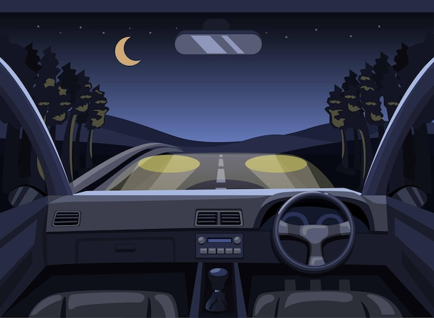 밤에 숲에서 운전하는 대시 보드 자동차. 만화에서 관점 드라이버 장면 개념