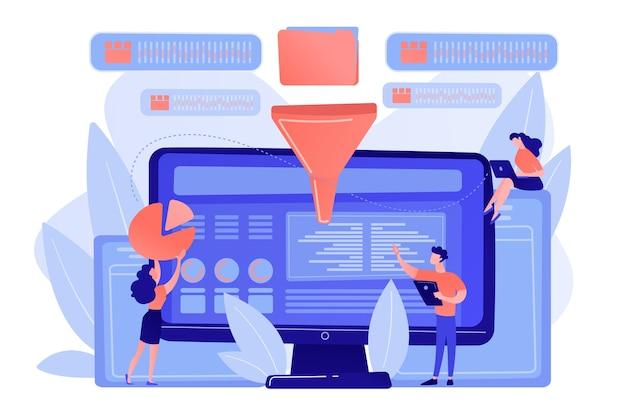 コンピューター画面上のメトリックを統合するダッシュボード。ビジネスインテリジェンスダッシュボード、ビジネス分析ツール、ビジネスインテリジェンスメトリックの概念