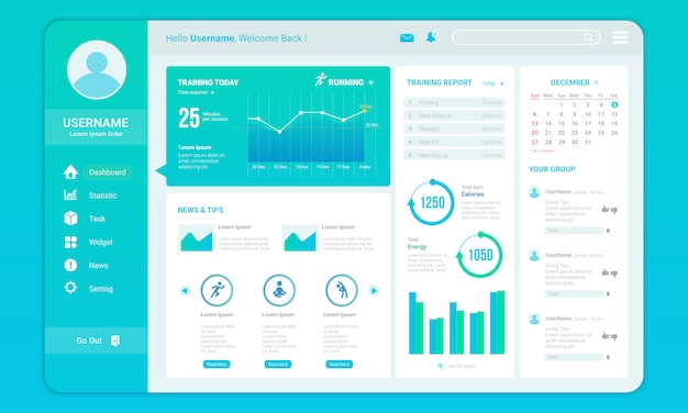 Dashboard for fitness progress template