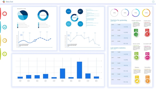 Dashboard, great design for any site purposes.business infographic template. flat illustration