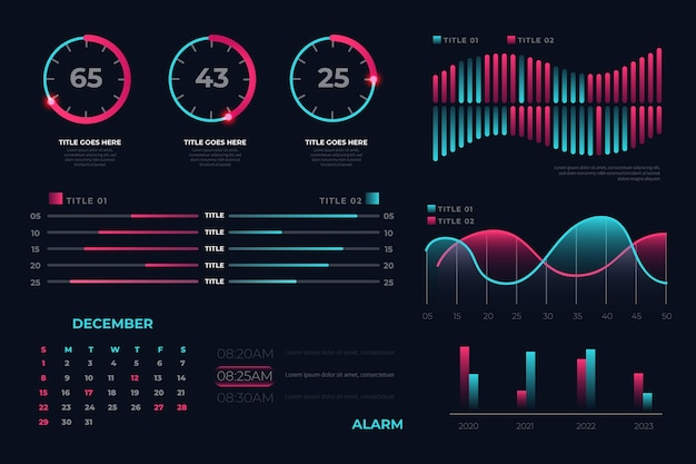 Dashboard infographic element set