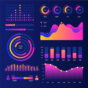 Dashboard infographic template element collection