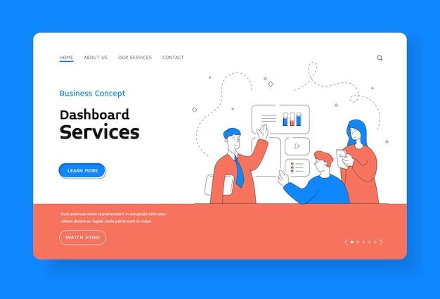Шаблон баннера целевой страницы сервисов панели управления. мультяшный персонаж-помощник-мужчина с планшетом, показывающий диаграммы заинтересованным мужчине и женщине со смартфоном во время рекламы онлайн-сервиса