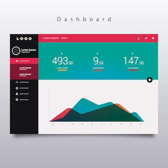 Dashboard template with graphic