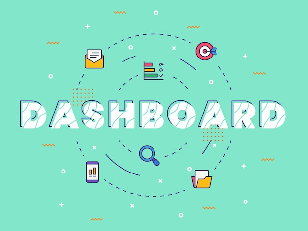 Dashboard typography calligraphy word art with filled color