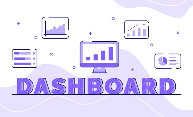 Dashboard typography word art background of icon statistic chart monitor with outline style