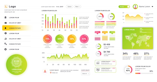 Dashboard ui. admin panel design template with infographic elements