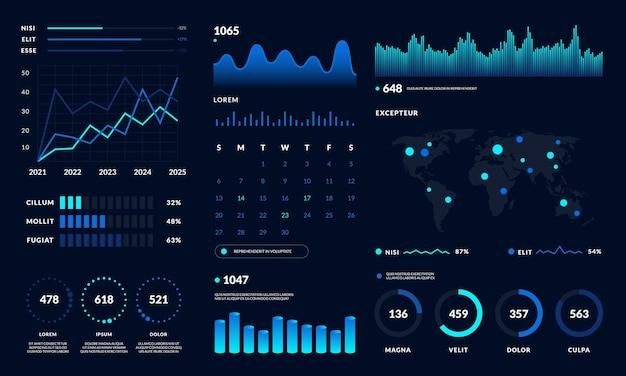 ダッシュボードui。データhudダイアグラムのデザイン、グラフ、チャートの最新のグラフィックインターフェイス。ベクトル未来的なダッシュボードモダンなインフォグラフィック黒のデザイン