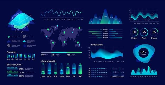 대시보드 ui 사용자 인터페이스 요소, 다이어그램 및 차트가 있는 미래형 데이터 패널