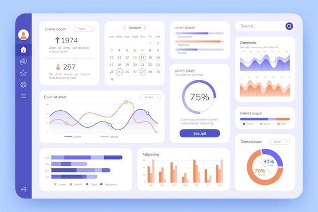 ダッシュボード。 uiインフォグラフィック、データグラフィック、チャート。ビジネス分析を使用した画面。管理統計ソフトウェア、webインターフェイスベクトルテンプレート。イラスト統計インフォグラフィックデータ画面