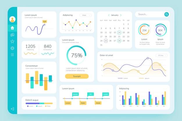 ダッシュボードui。シンプルなデータソフトウェア、チャートとhudダイアグラム、管理パネル。現代の金融アプリケーションインターフェイステンプレートベクトルインフォグラフィック。イラストレポート図視覚化統計