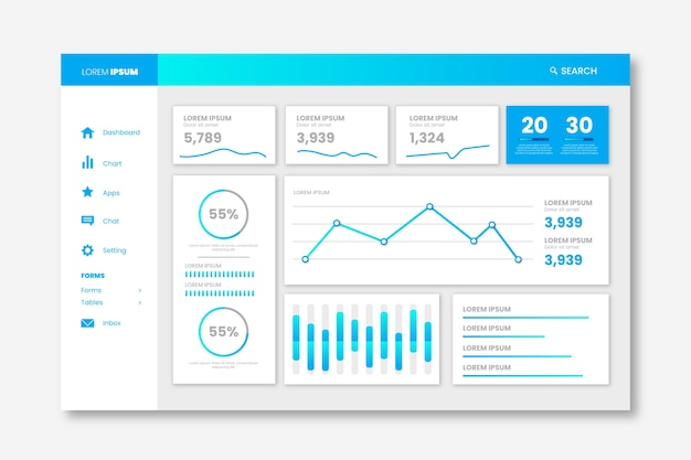 Dashboard user panel gradient template