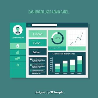 Dashboard user panel with flat design