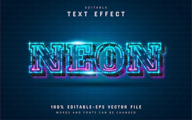 Dashed line neon text effect