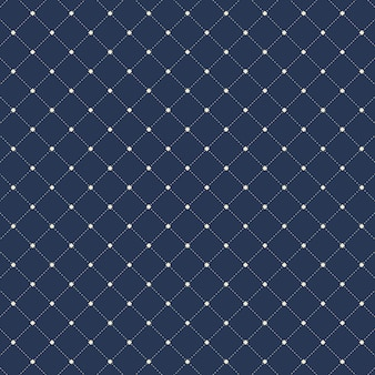 Dashed lines squares seamless pattern blue background.