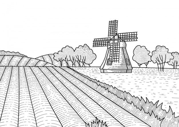 Пунктирный контур летнего пейзажа с ветряной мельницей. сельский голландский пейзаж с мельницей и полем. пекарня, экологически чистое сельскохозяйственное производство, эко продукты питания. ручной обращается старинные гравированные эскиз.