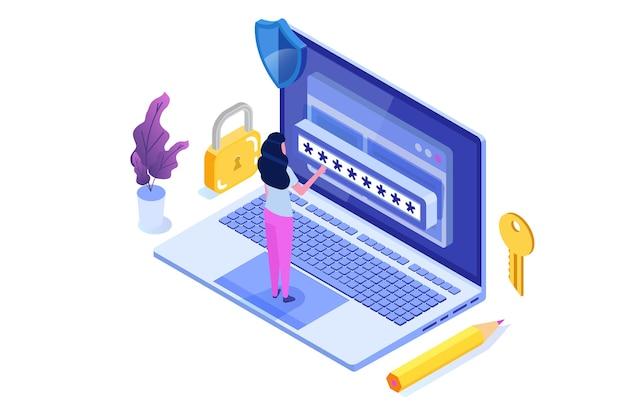 データアクセス、パスワードアイソメトリックコンセプト。画面上のログインフォーム。
