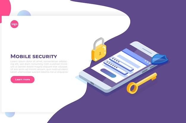 Доступ к данным, изометрическая концепция пароля. форма входа на экране.