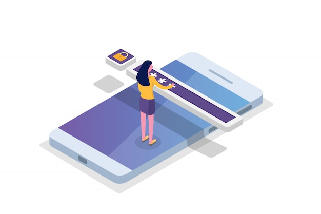 Data access, password isometric concept. login form on screen.  illustration.