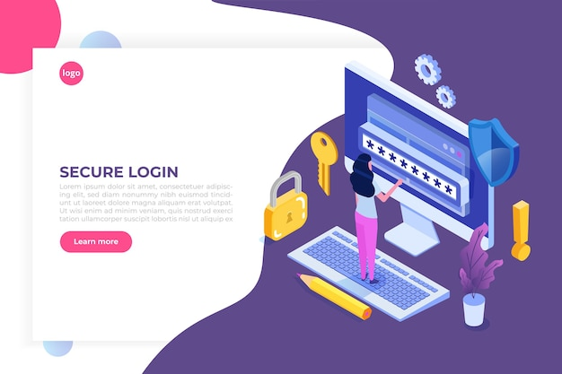 Data access, password isometric concept. login form on screen.