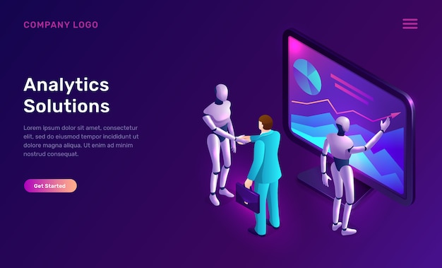 Data analysis or analytics solutions isometric