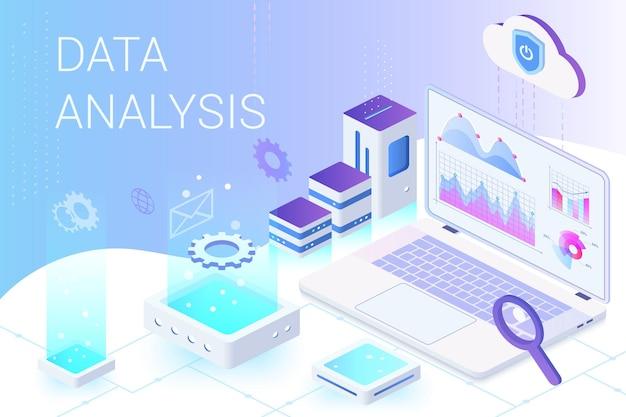 アイソメトリックテンプレートを使用したデータ分析およびマーケティングメトリクスサービスのランディングページ