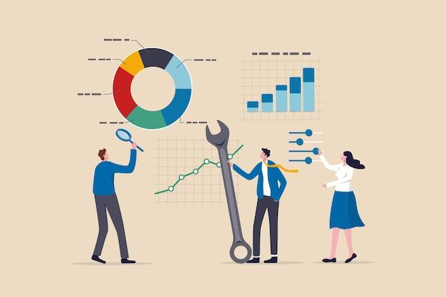 Seoのデータ分析と最適化、マーケティングリサーチのユーザーと顧客の行動、投資トレンドの概念の分析、拡大鏡を使用したビジネスマン、チャートとグラフの分析にツールを最適化します。